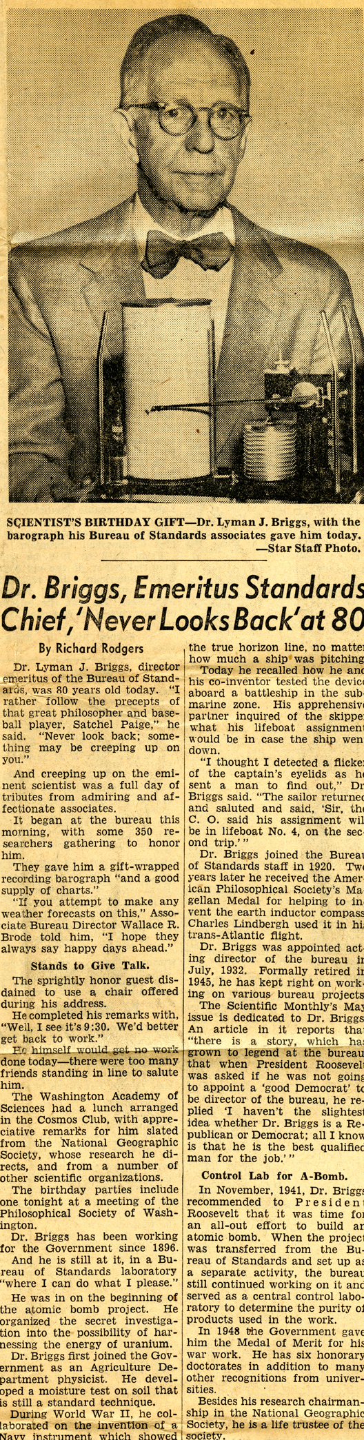 """Dr. Lyman Briggs Looks Back at 80 Years"" Newspaper Article"
