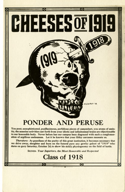 """""""Cheeses of 1919"""" rivalry postcard, 1919"""