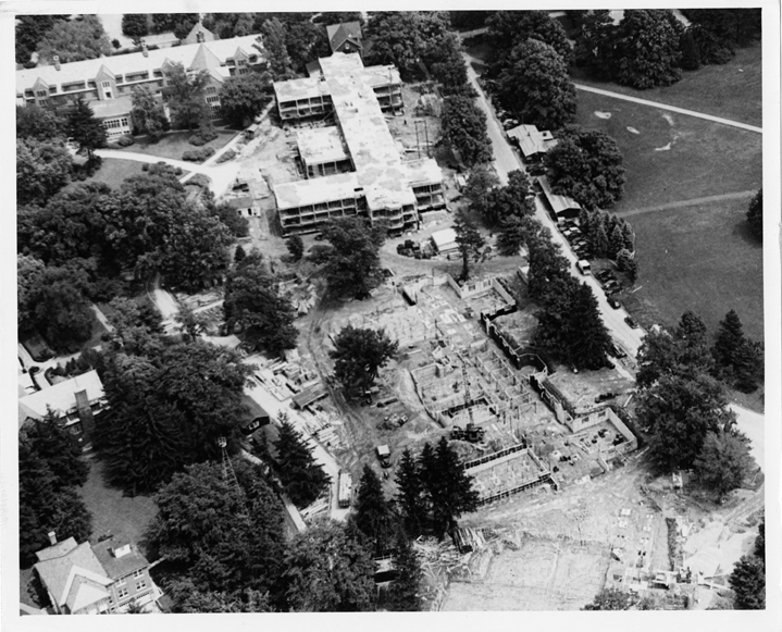 Construction of Landon & Yakeley Halls (aerial), 1947