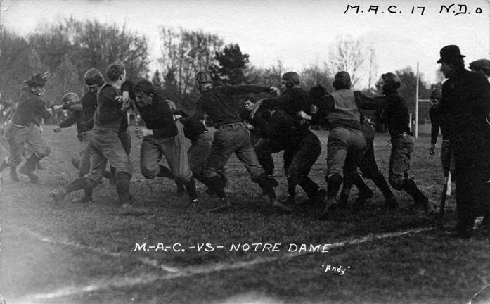 M.A.C. vs. Notre Dame football game, ca. 1910