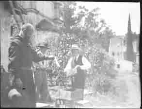 Men examining bee hives (Frank M. Benton papers), circa 1880s