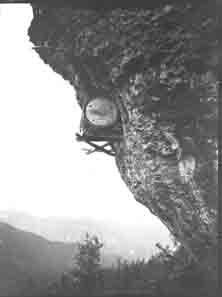 Barrel hanging from a mountain (Frank M. Benton papers), circa 1880s
