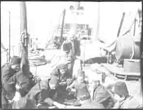 Group of men on a ship (Frank M. Benton papers), circa 1880s