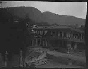 Carriages next to unidentified buildings (Frank M. Benton papers), circa 1880s
