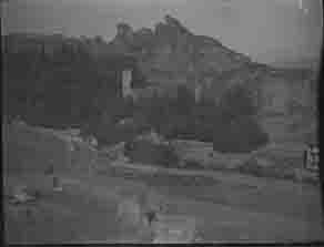 Cemetery and crumbling buildings on mountain side (Frank M. Benton papers), circa 1880s