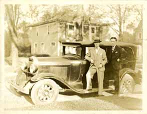 Onn Mann Liang with car and unidentified man, circa 1925