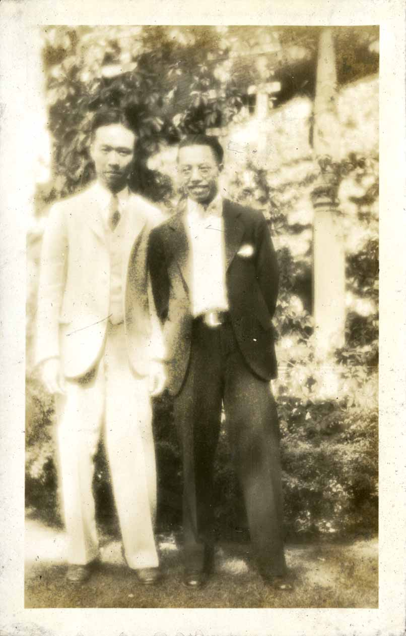 Onn Mann Liang outside with unidentified man, circa 1925