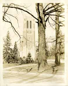 View of Beaumont Tower, circa 1925