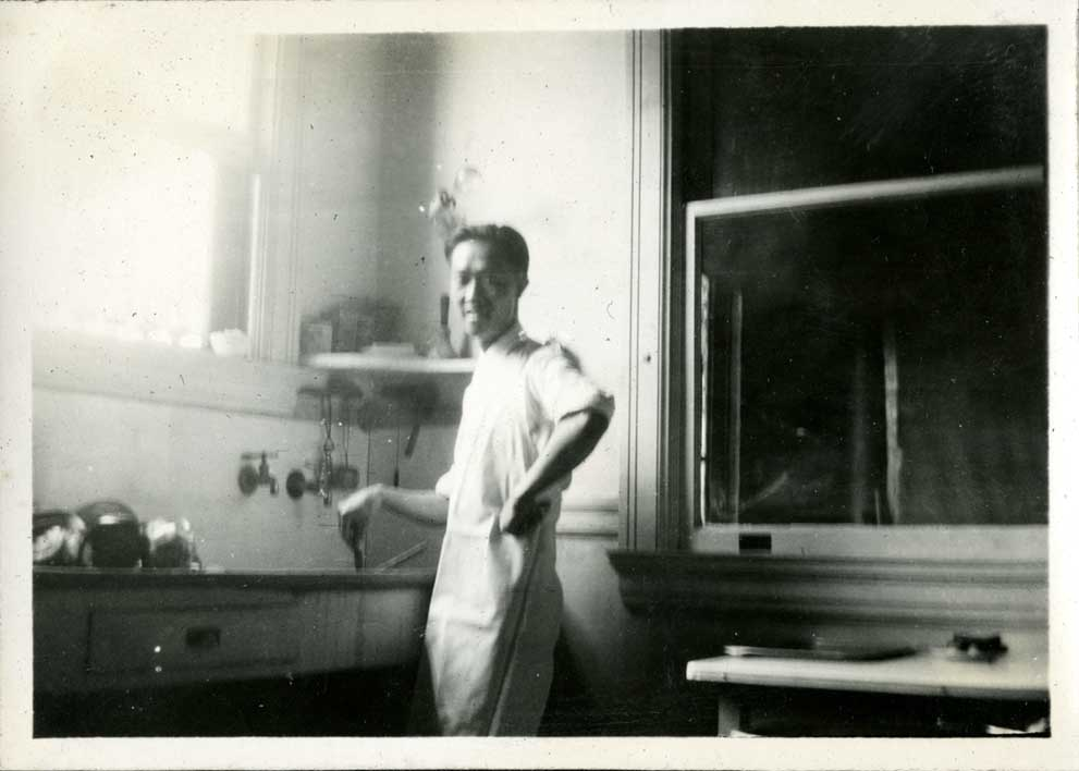 Onn Mann Liang in front of sink, circa 1922
