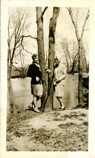 Two women by the Red Cedar River, circa 1925