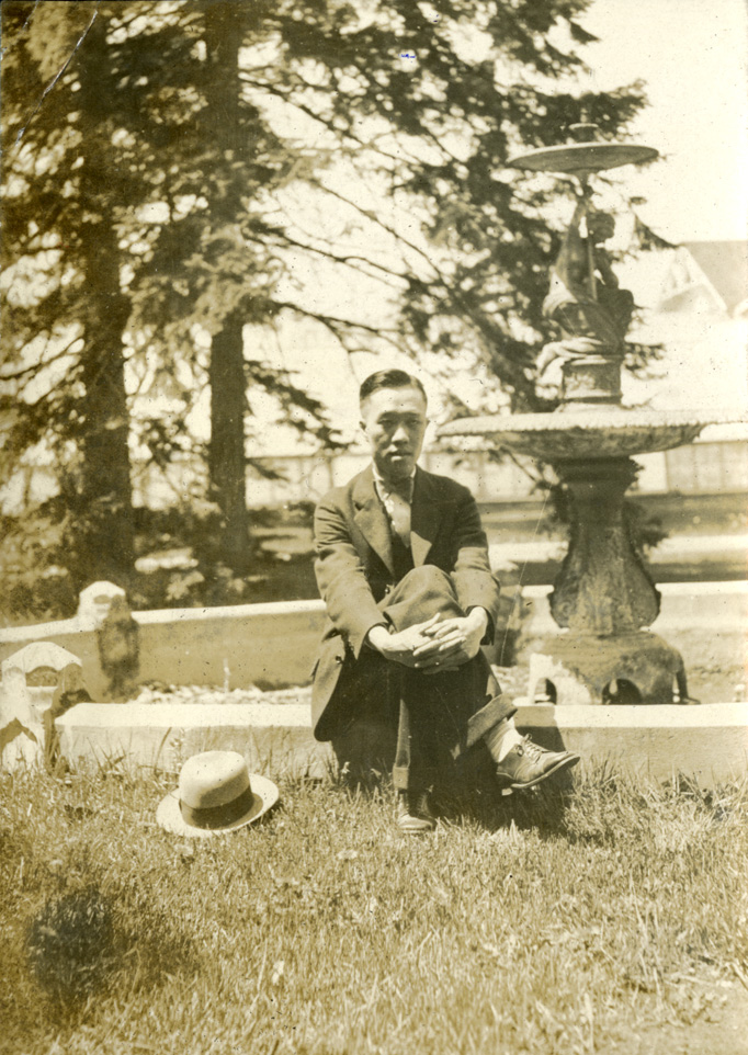 Onn Mann Liang with fountain, circa 1925