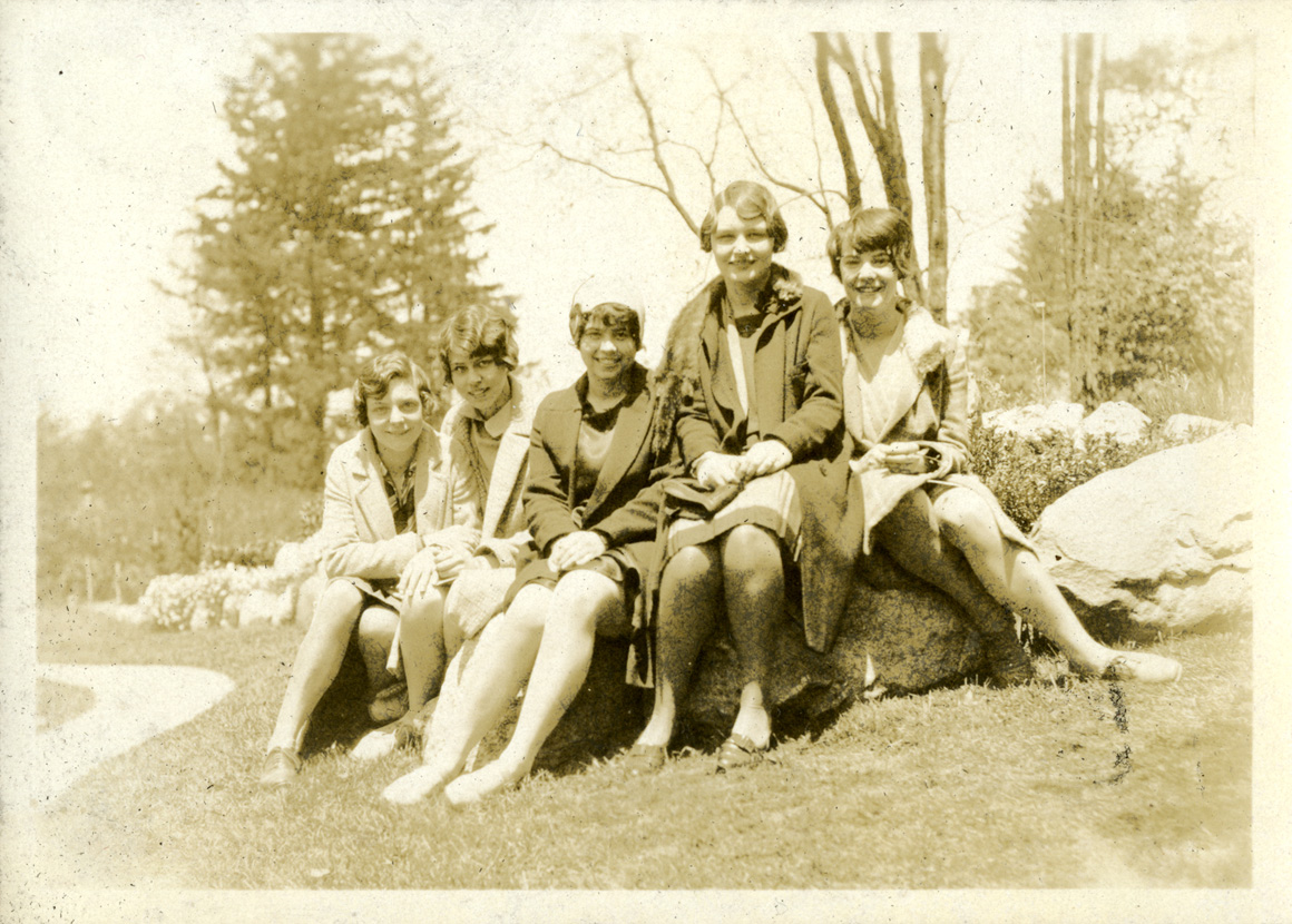 Five women on campus, taken by Onn Mann Liang, circa 1925