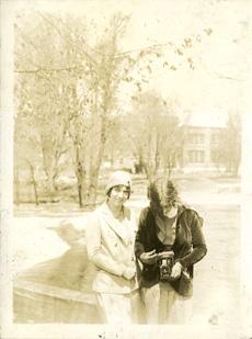 Two women on campus, taken by Onn Mann Liang, circa 1925
