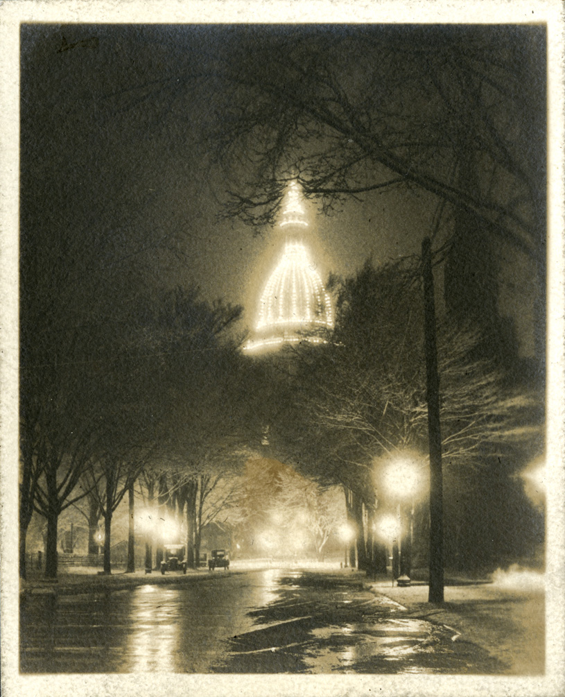 Lansing capitol at night, taken by Onn Mann Liang, circa 1925