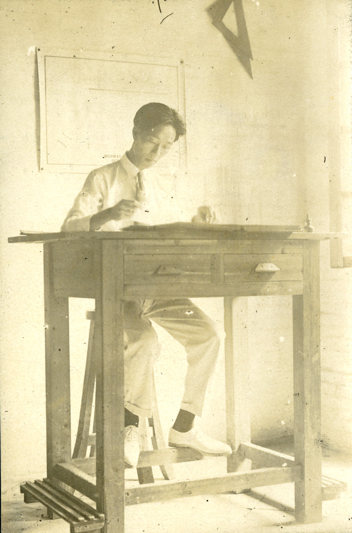 Onn Mann Liang working at desk, 1921