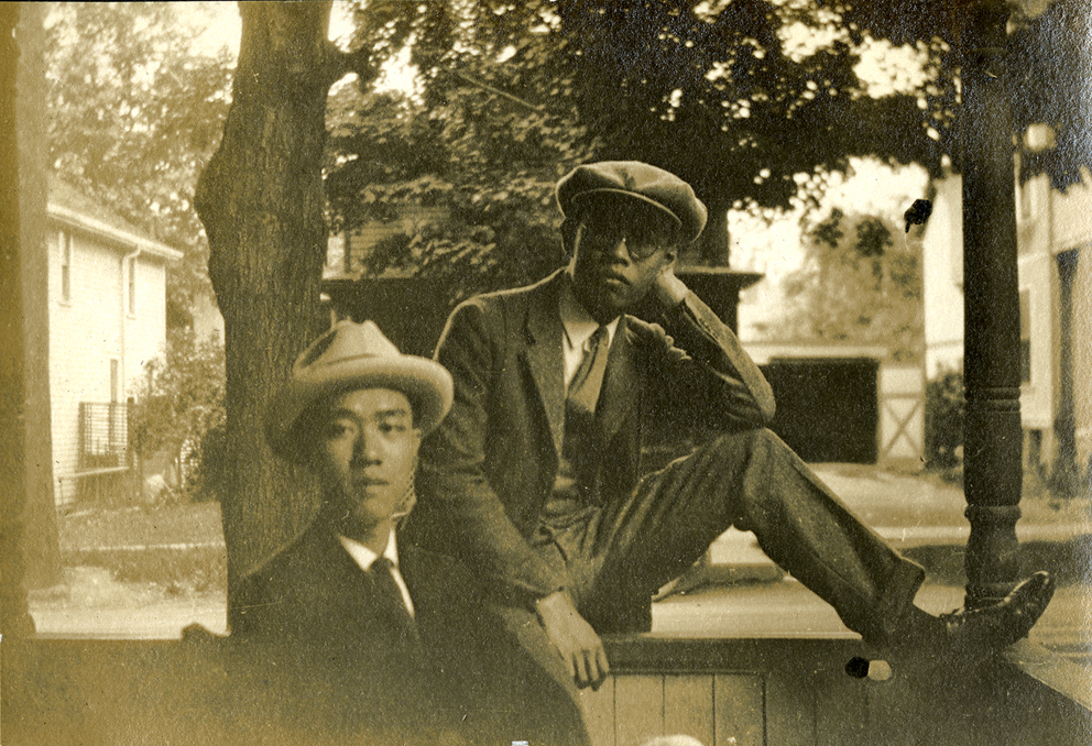 Onn Mann Liang with unidentified friend in Ann Arbor, 1924