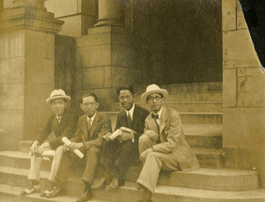 Onn Mann Liang and others on steps in Ann Arbor, 1924