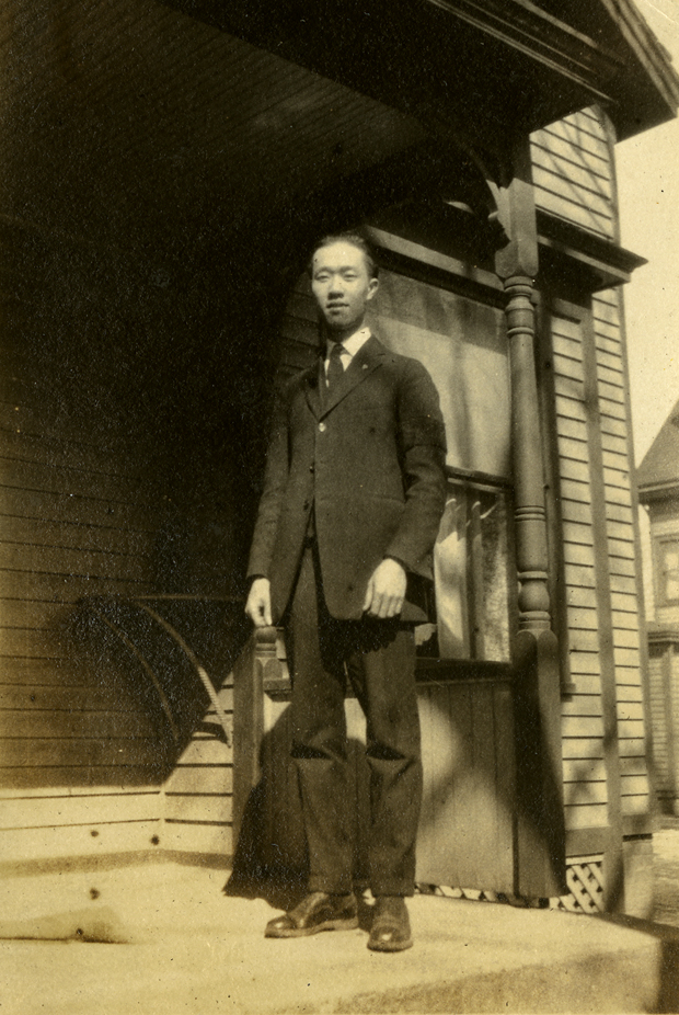 Onn Mann Liang on porch in Ann Arbor, 1924