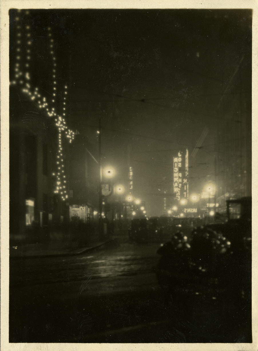Downtown Lansing night scene, taken by Onn Mann Liang, circa 1925