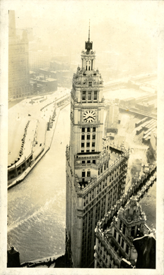 Aerial view of Chicago, taken by Onn Mann Liang, 1928