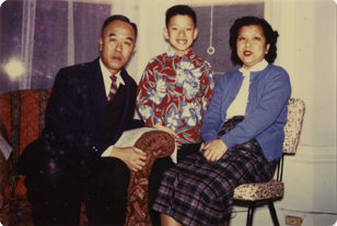Onn Mann Liang with wife and child, 1957