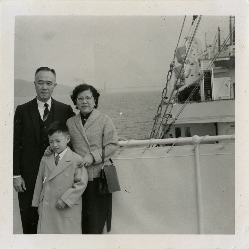 Onn Mann Liang and family arriving in San Francisco, 1956
