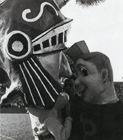 Mascots Sparty and Purdue Pete at a game, 1966