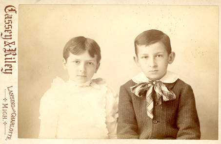 Pearl and William Roscoe Kedzie as children, undated