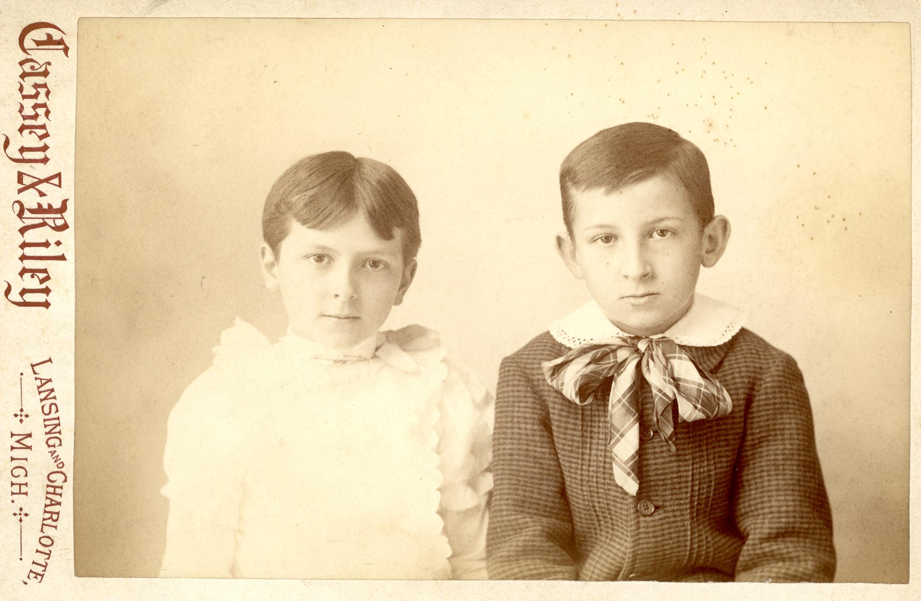 Pearl and William Roscoe Kedzie as children, undated