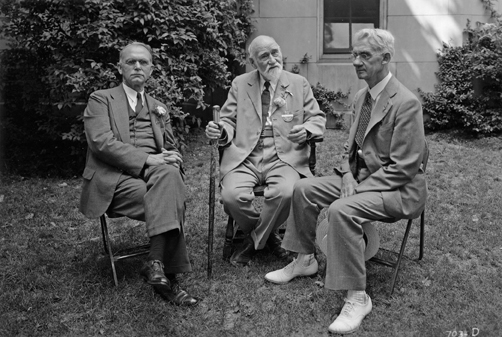 Ray Baker, Daniel Strange, and MSU President Shaw, June 10, 1939