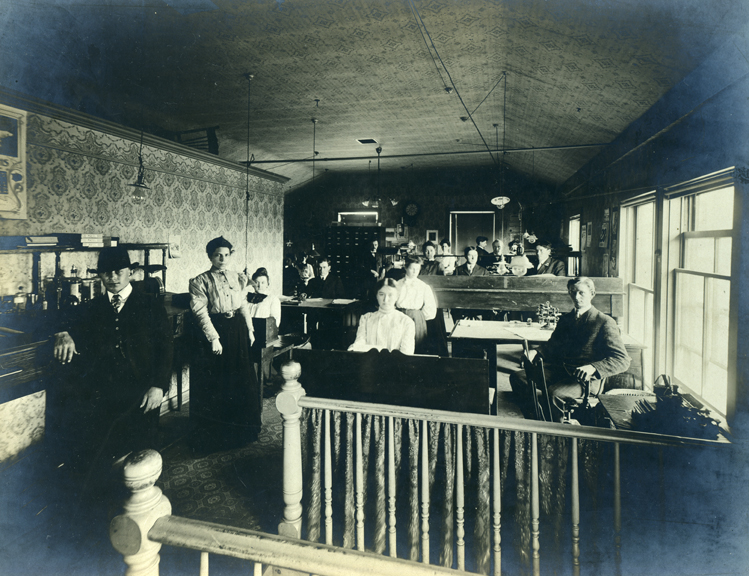 Employees in Warren Featherbone Company office