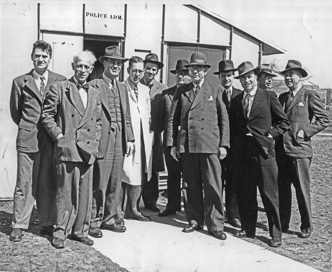 Group of German Researchers on MSU Campus with Art Brandstatter and Ralph Turner, undated (circa 1949)