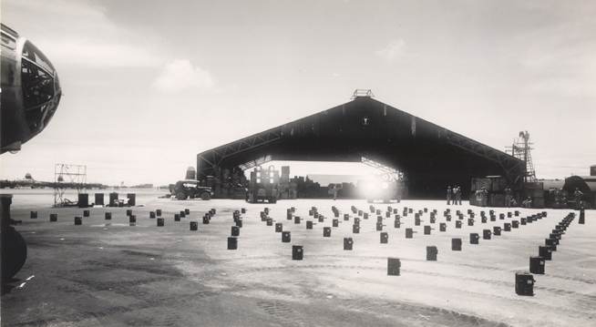 Jerome turret cameras in front of hangar, 1945-1946