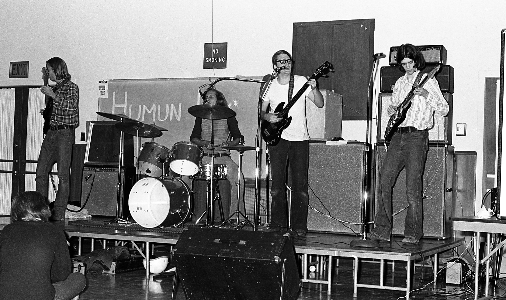 Band at Brody mixer in multipurpose room, 1973