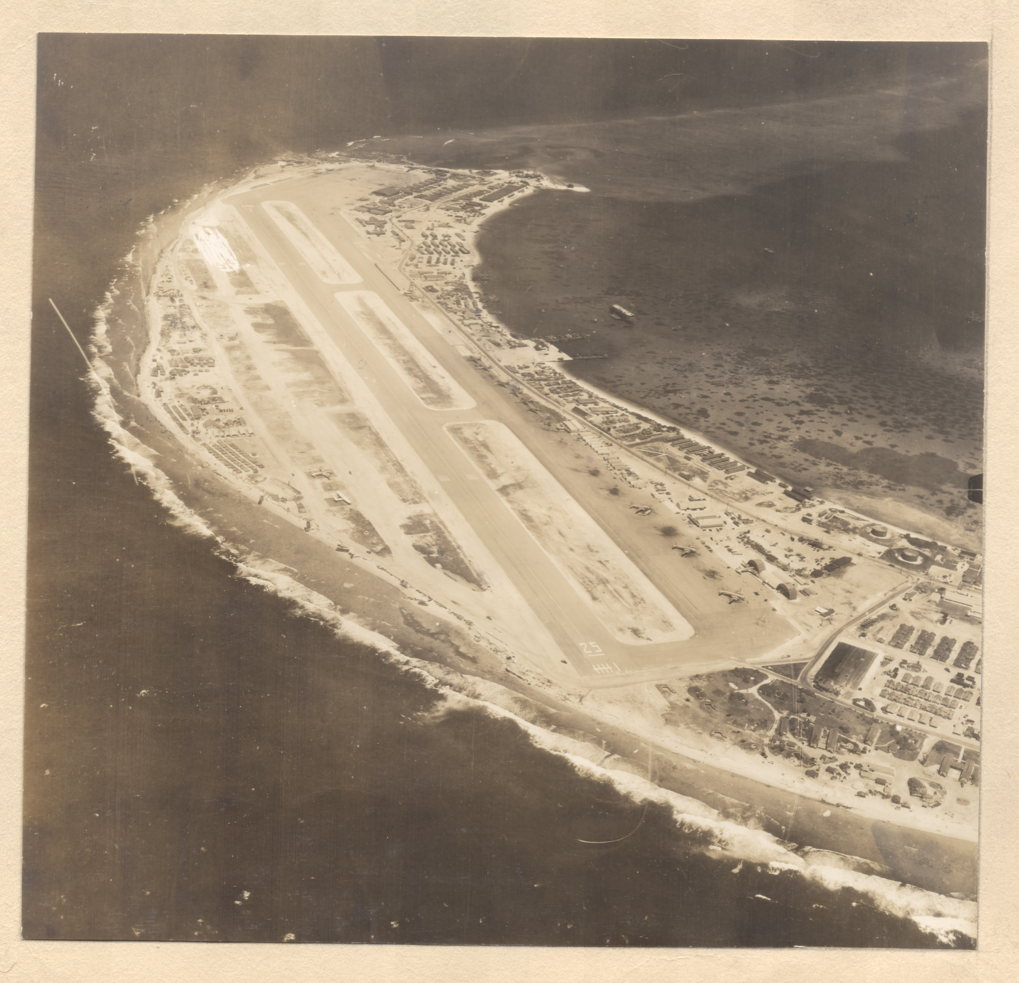 Aerial view of Kwajalein base, 1945-1946