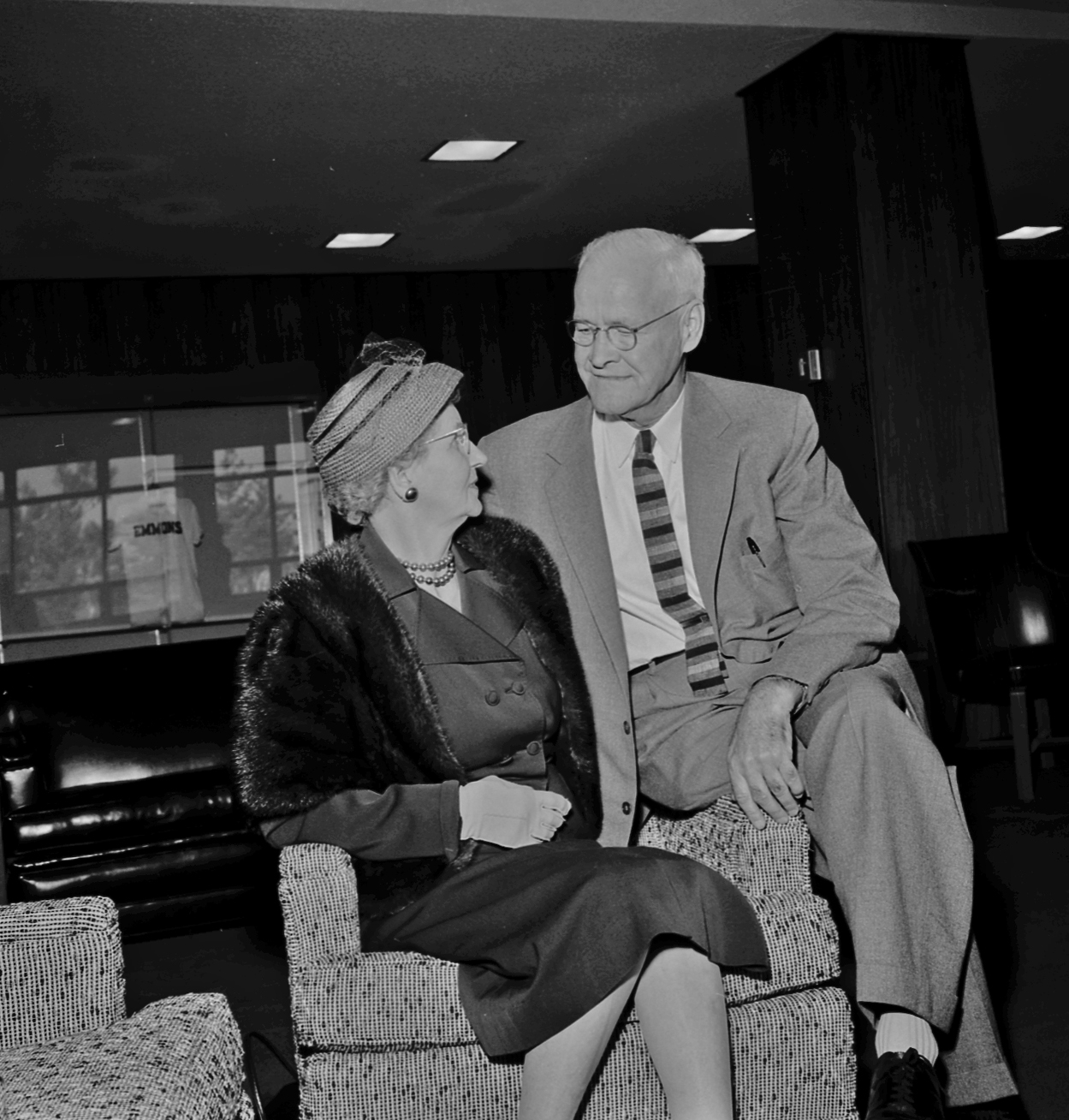 Dean Emmons and his wife at Emmons Hall, 1956