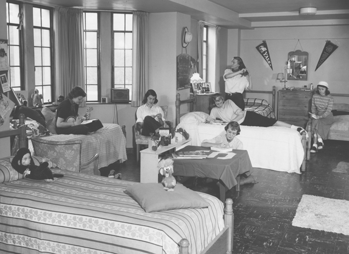 Six women in a dorm room, 1950