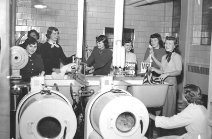 Laundry in the dorms, 1951