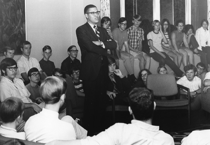 Clifton Wharton at a dorm meeting, 1970