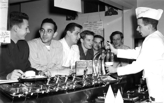 Students at the soda Fountain in Snyder Hall in 1950