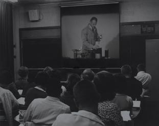 Class watching Chemistry Movie, 1963