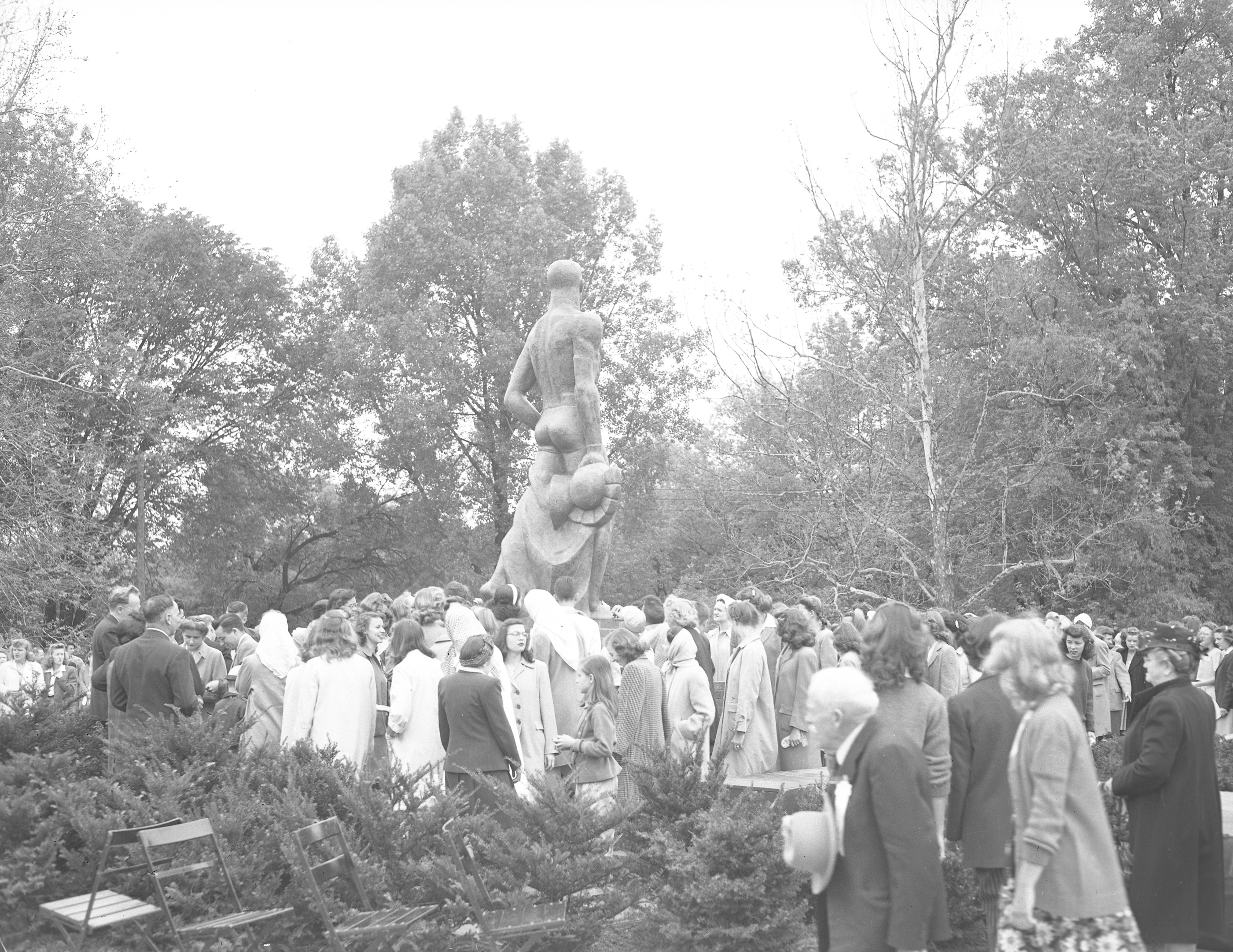 After the Unveiling of the Spartan Statue, 1945