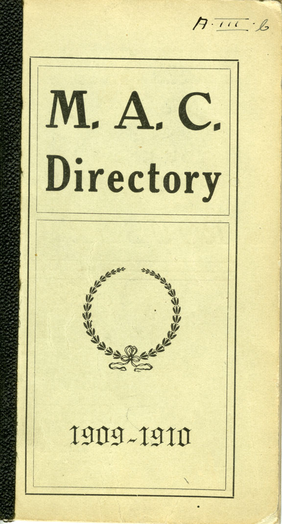 1909-1910 Michigan Agricultural College Faculty and Student Directory