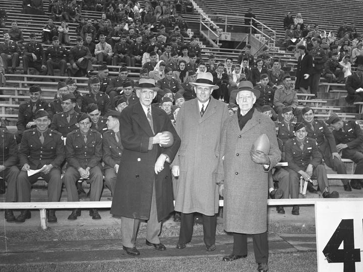 John Hannah and two of the original 1884 football team members, October 1943