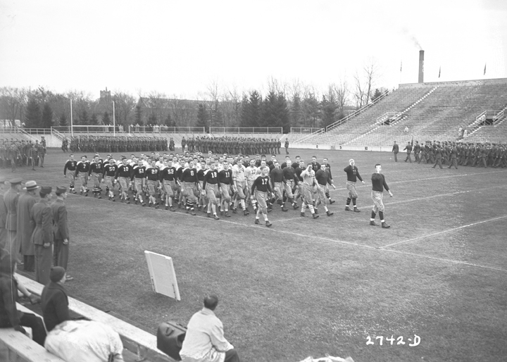 Campus football leagues march in formation, November 6, 1943