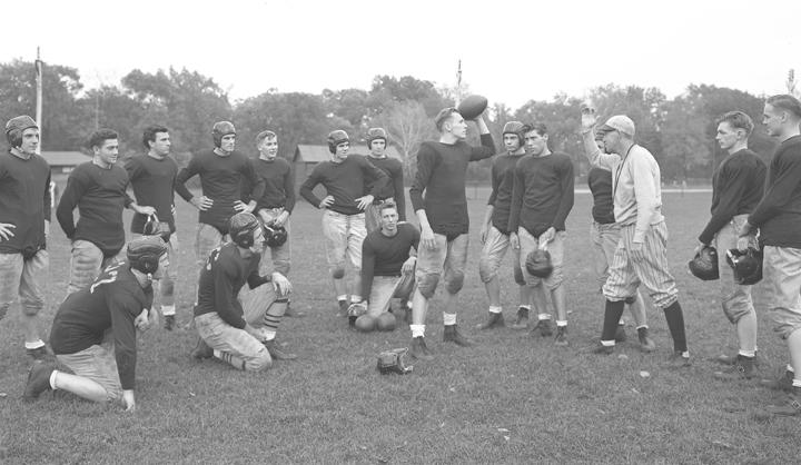 Campus football league teams practicing, October 1943