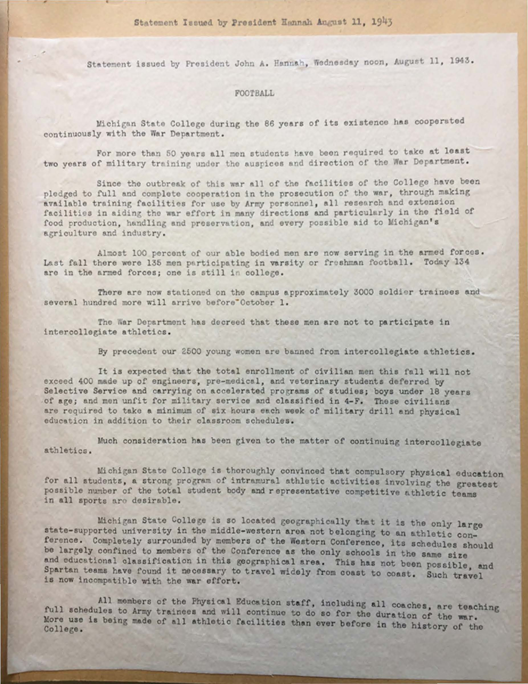 Statement of the 1943 football season cancelled