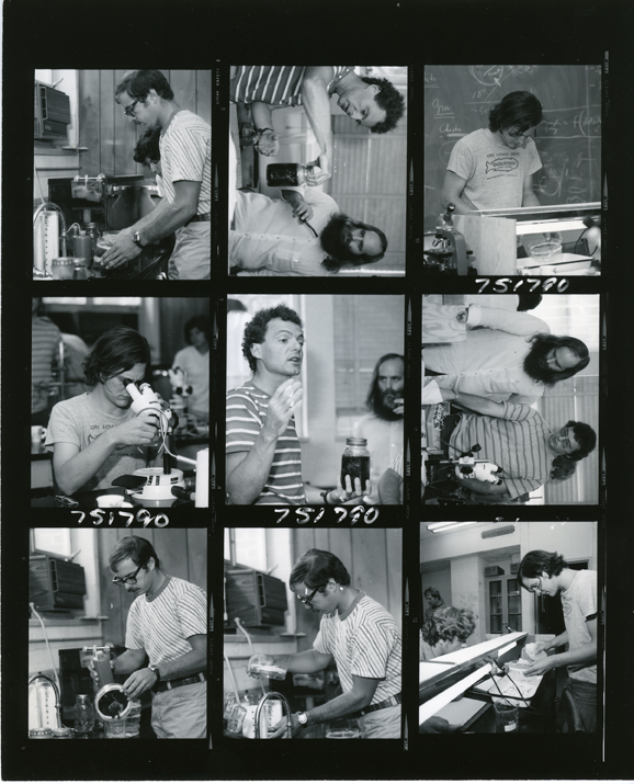Contact sheet of nine KBS images, 1975