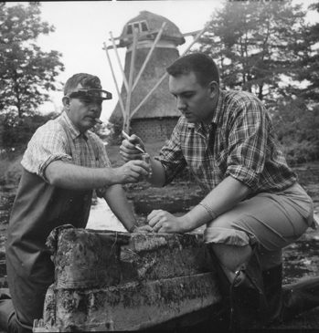 T. Wayne Porter and student working at Kellogg Biological Station, 1959