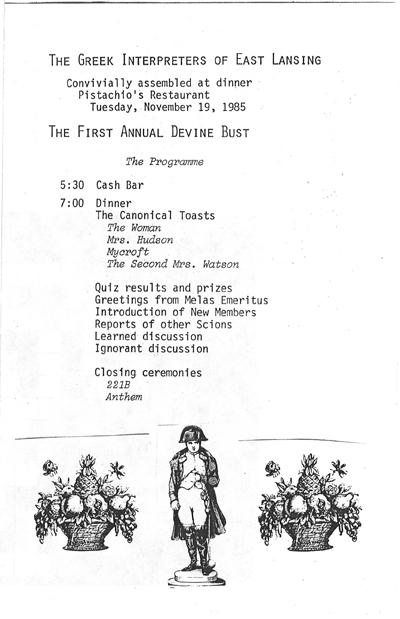 Meeting program for the Greek Interpreters of East Lansing, November 19, 1985